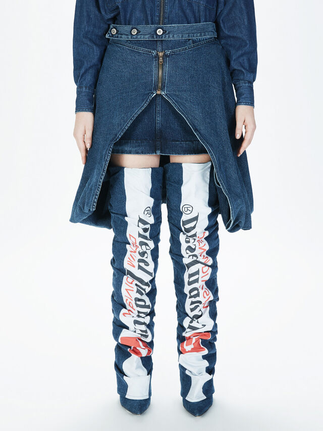 Diesel - SOBS01, Dark Blue - Skirts - Image 3