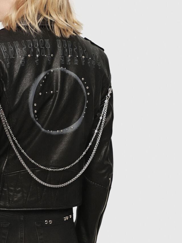 Diesel - SE-LENE, Black Leather - Leather jackets - Image 4