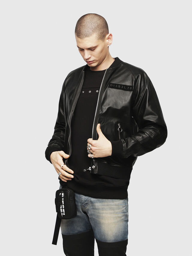 Diesel - L-PINS-A, Black - Leather jackets - Image 1