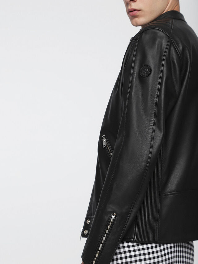 Diesel - L-QUAD, Black Leather - Leather jackets - Image 5