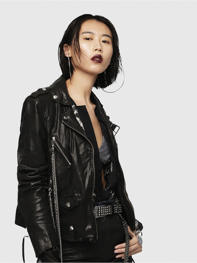 Diesel - L-TERRY-B, Black Leather - Leather jackets - Image 3