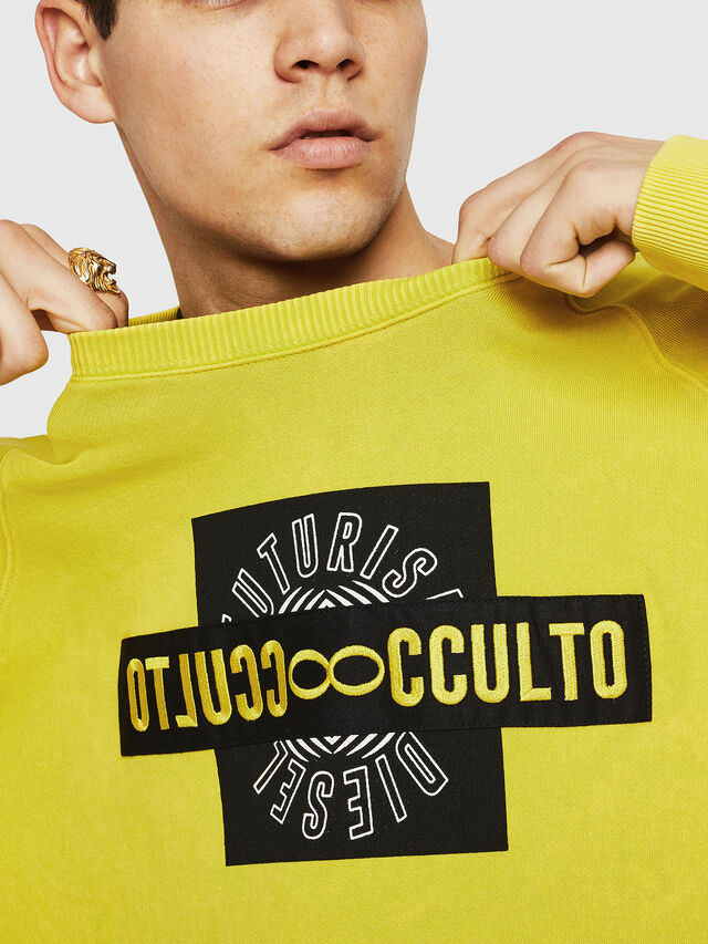 Diesel - S-RODD, Yellow Fluo - Sweaters - Image 3
