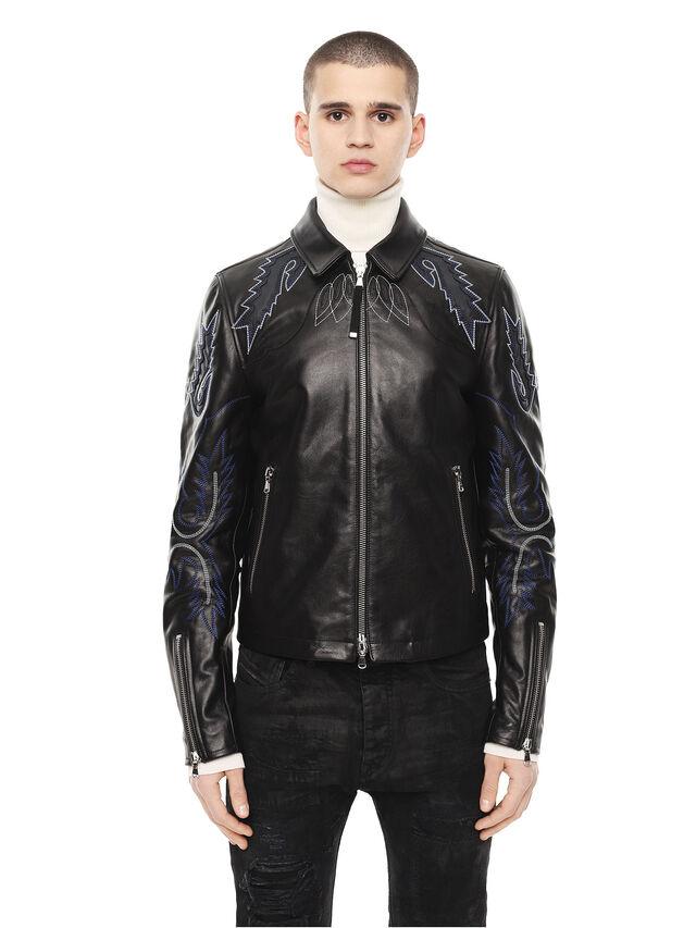 Diesel - LITEX, Black - Leather jackets - Image 1