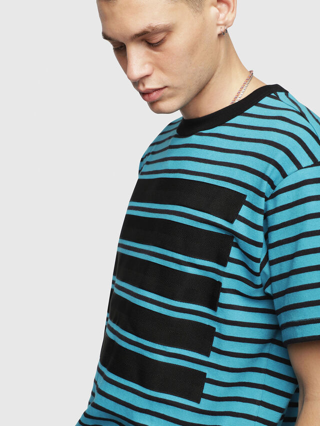 Diesel - T-WALLACE-STRIPE, Turquoise - T-Shirts - Image 3
