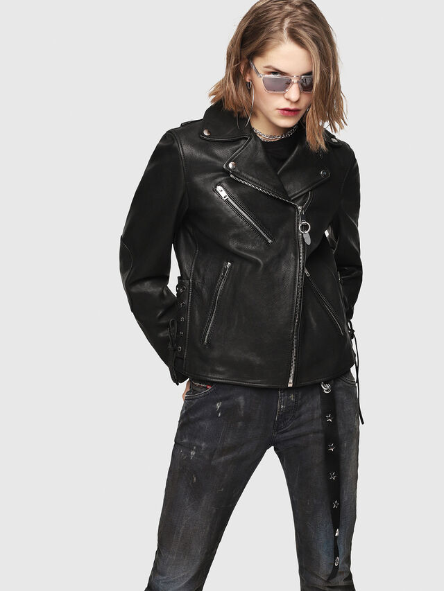 Diesel - CL-L-GOLY, Black Leather - Leather jackets - Image 1