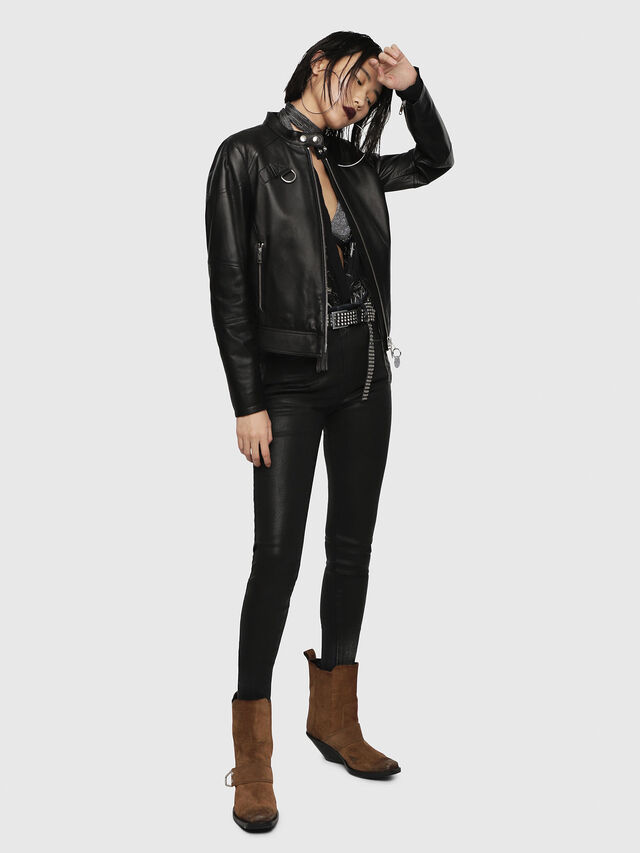 Diesel - L-SUZ, Black Leather - Leather jackets - Image 5