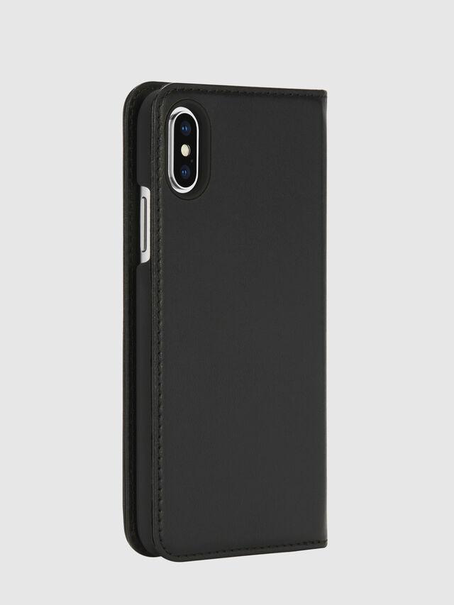 Diesel - SLIM LEATHER FOLIO IPHONE X, Black - Flip covers - Image 4