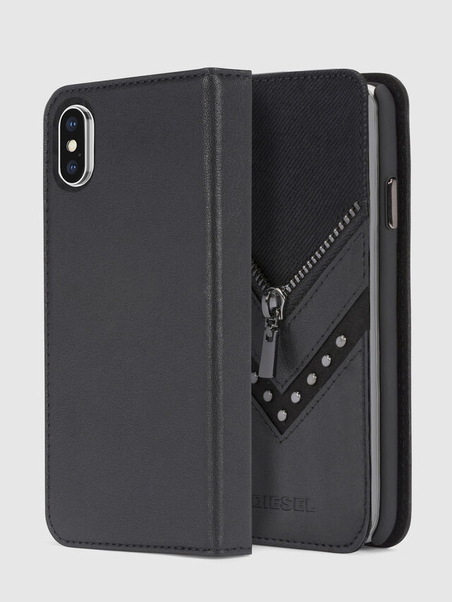 Diesel BLACK DENIM/STUD/ZIPPER IPHONE X FOLIO, Black - Flip covers - Image 1