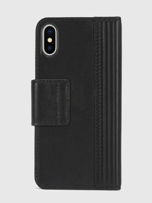 Diesel - BLACK LINED LEATHER IPHONE X FOLIO, Black - Flip covers - Image 5