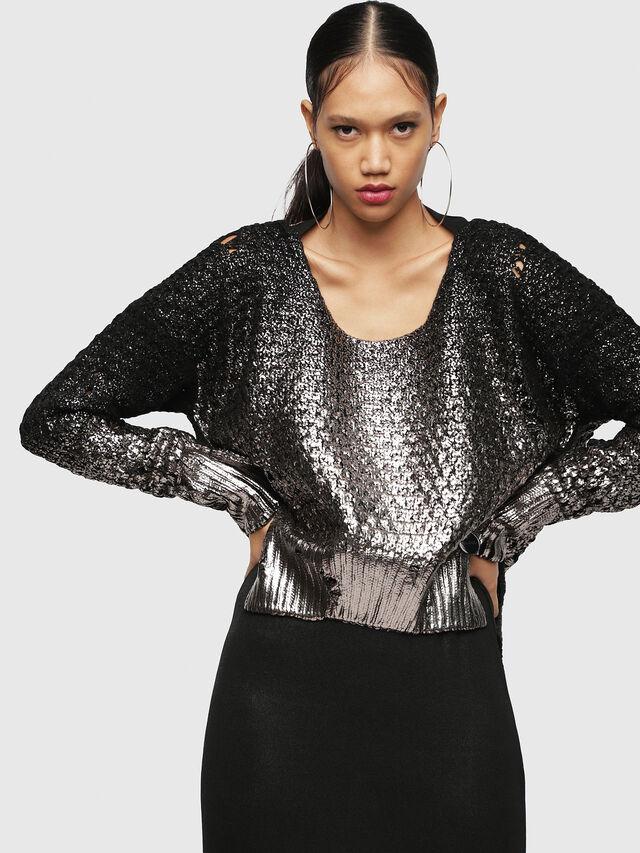 Diesel - M-CLOK, Black/Silver - Knitwear - Image 1