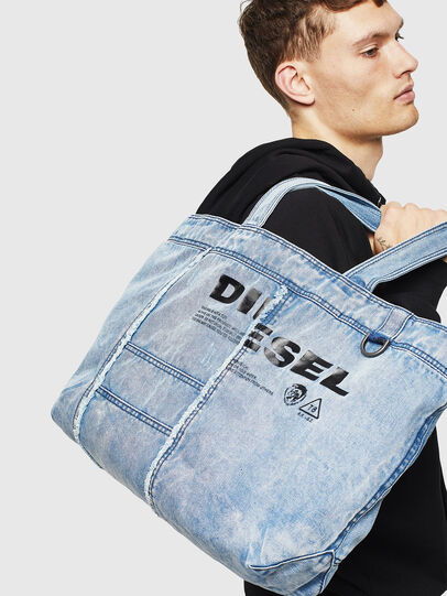 Diesel - D-THISBAG SHOPPER L, Light Blue - Shopping and Shoulder Bags - Image 6