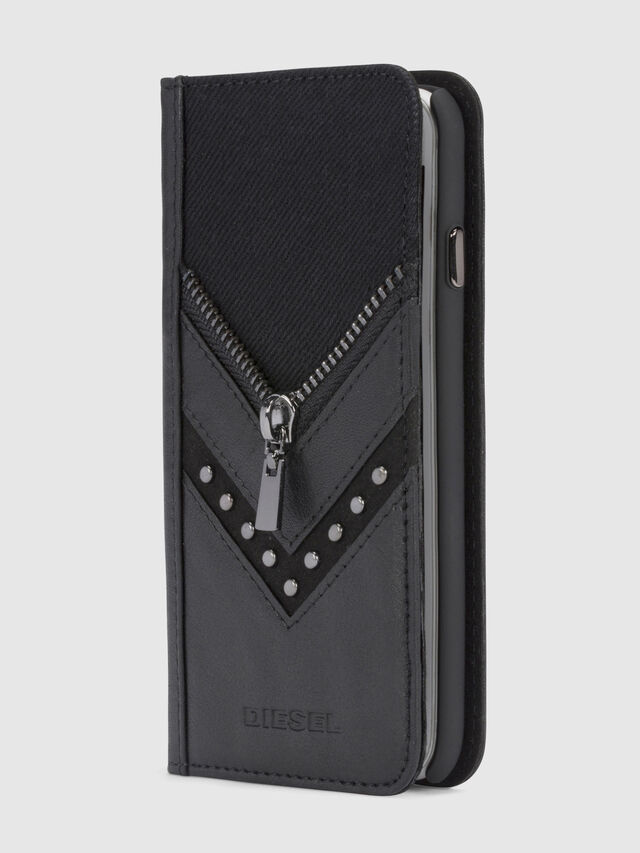 Diesel BLACK DENIM/STUD/ZIPPER IPHONE 8/7 FOLIO, Black - Flip covers - Image 1
