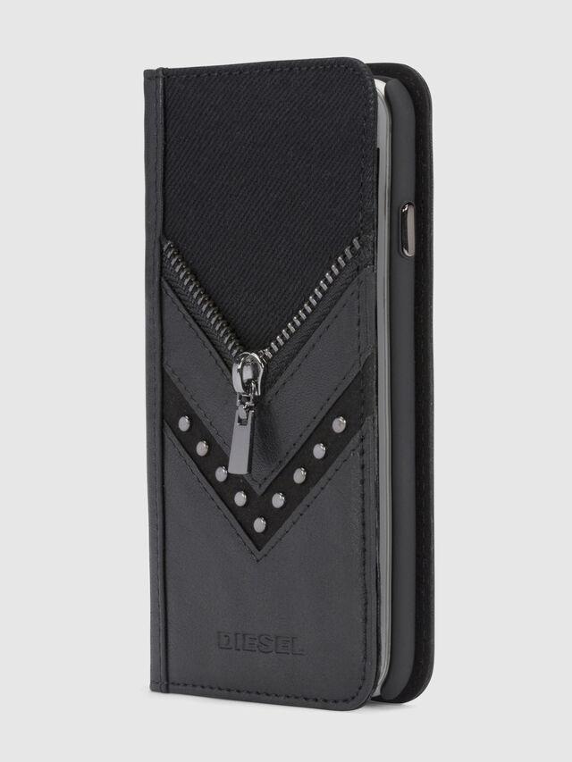 Diesel - BLACK DENIM/STUD/ZIPPER IPHONE 8/7 FOLIO, Black - Flip covers - Image 1