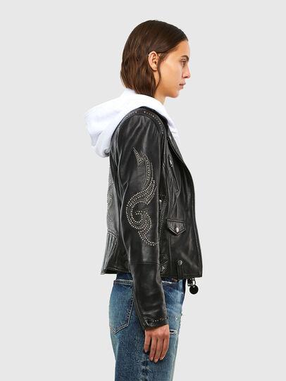 Diesel - L-DIANE, Black - Leather jackets - Image 3