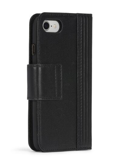Diesel - BLACK LINED LEATHER IPHONE 8 PLUS/7 PLUS FOLIO, Black - Flip covers - Image 7