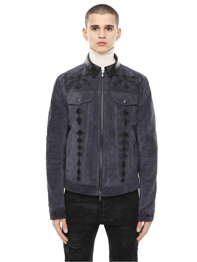 Diesel - LYRICH, Dark Blue - Leather jackets - Image 1