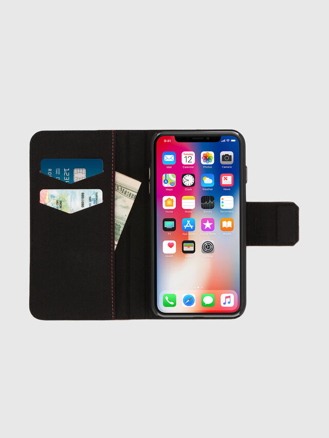 BLACK LINED LEATHER IPHONE X FOLIO, Black