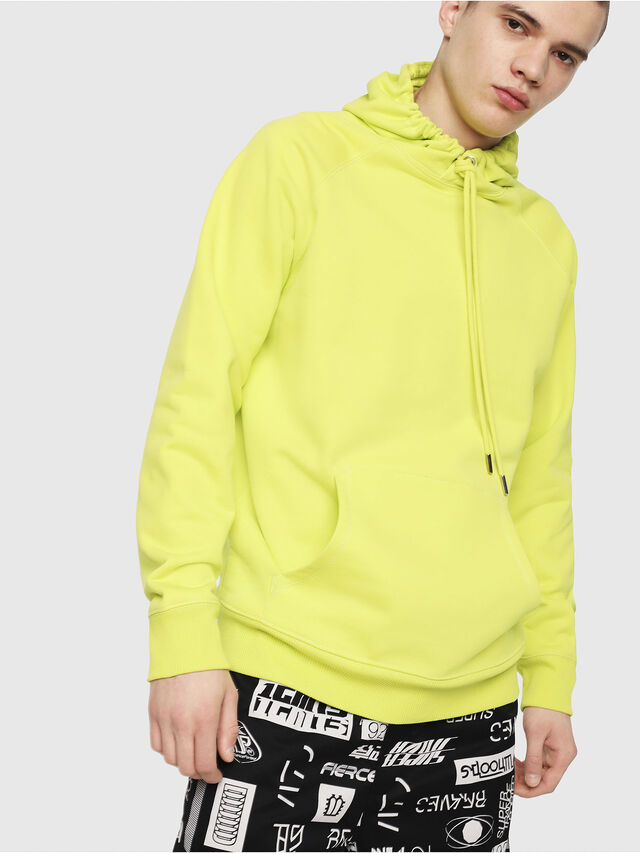 Diesel - S-GIM-HOOD-A, Yellow Fluo - Sweaters - Image 1