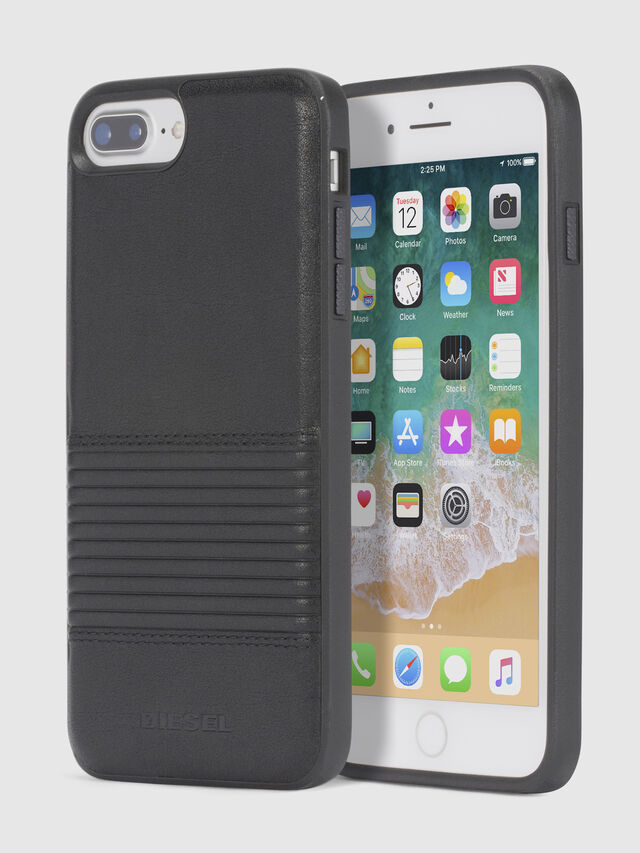 Diesel - BLACK LINED LEATHER IPHONE 8 PLUS/7 PLUS/6s PLUS/6 PLUS CASE, Black - Cases - Image 1