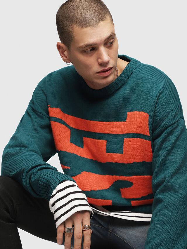 Diesel - K-LOGOX-A, Dark Green - Knitwear - Image 3
