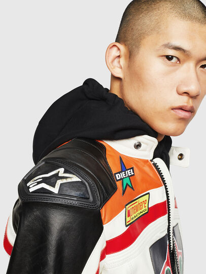 Diesel - ASTARS-LPATCH-1A, White - Leather jackets - Image 3