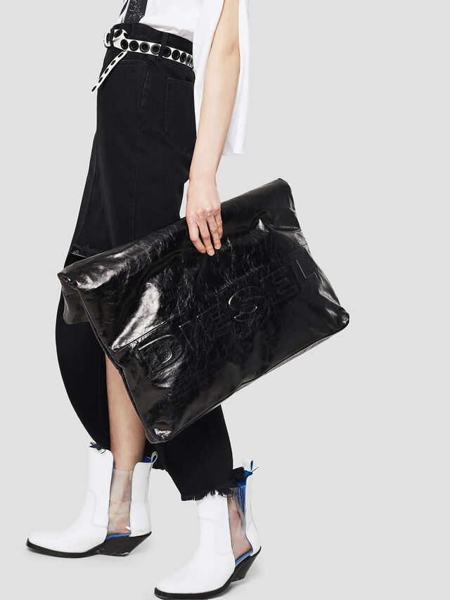 Diesel - F-LITT SHOPPER EW, Black - Clutches - Image 5
