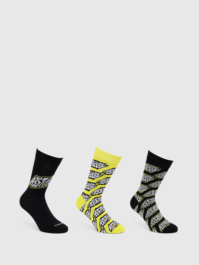 Diesel - SKM-RAY-THREEPACK, Black/Yellow - Socks - Image 1