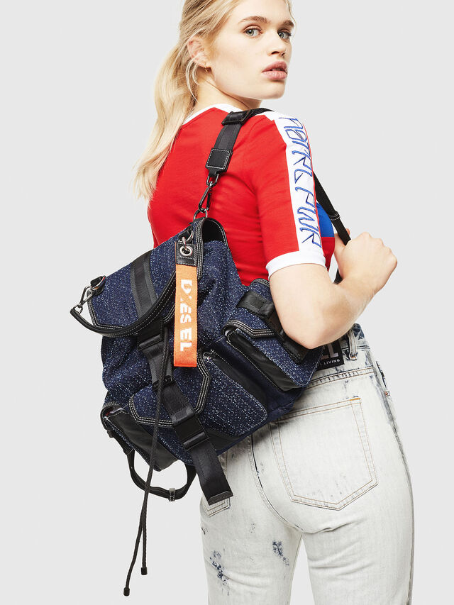 Diesel - MISS-MATCH BACKPACK, Blue Jeans - Backpacks - Image 5