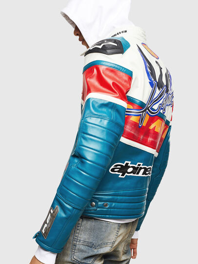 Diesel - ASTARS-LPATCH-1B, Blue - Leather jackets - Image 2
