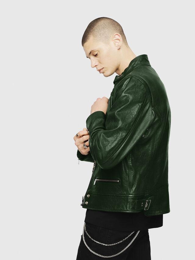 Diesel - L-KOJI, Green - Leather jackets - Image 3
