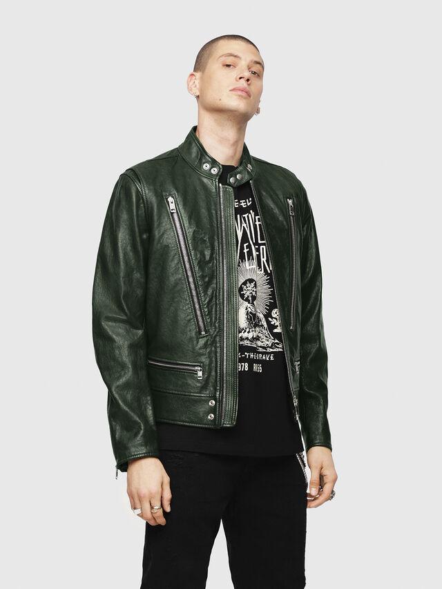 Diesel - L-KOJI, Green - Leather jackets - Image 1