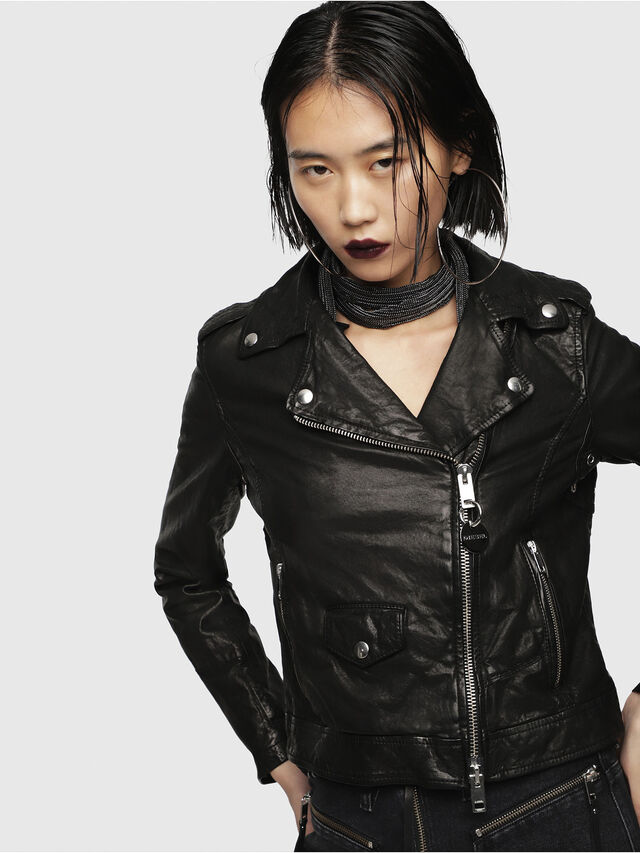 Diesel - L-SERY, Black Leather - Leather jackets - Image 1