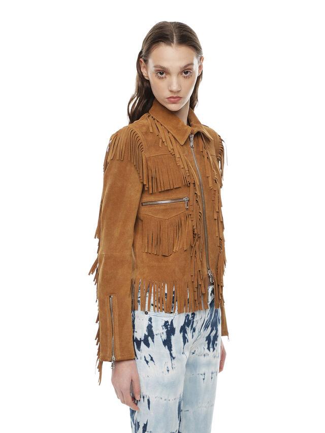 Diesel - LAUL, Brown/Beige - Leather jackets - Image 3