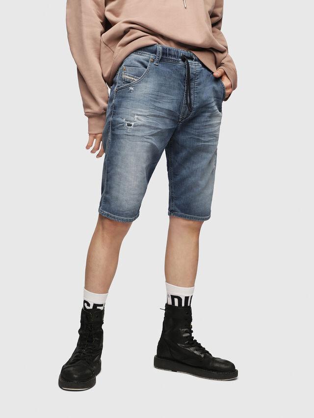 Diesel - KROOSHORT JOGGJEANS, Light Blue - Shorts - Image 1