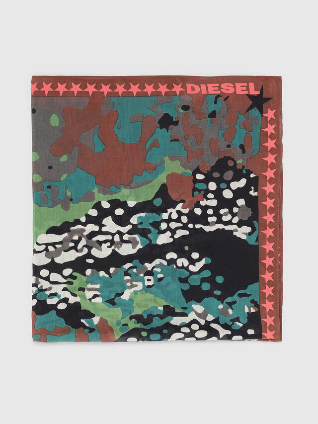 Diesel - S-MIME, Green Camouflage - Scarf - Image 1