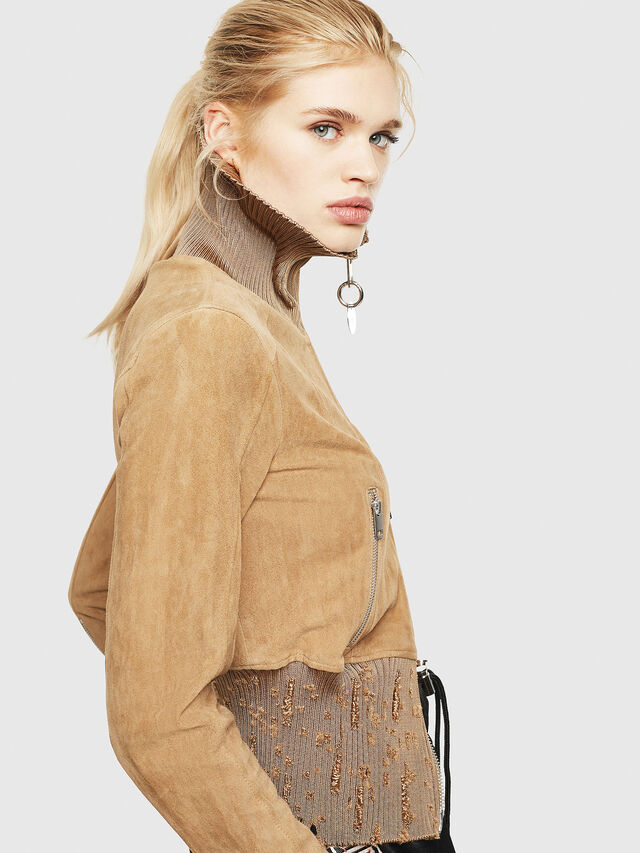 Diesel - L-LYS-A, Camel - Leather jackets - Image 5