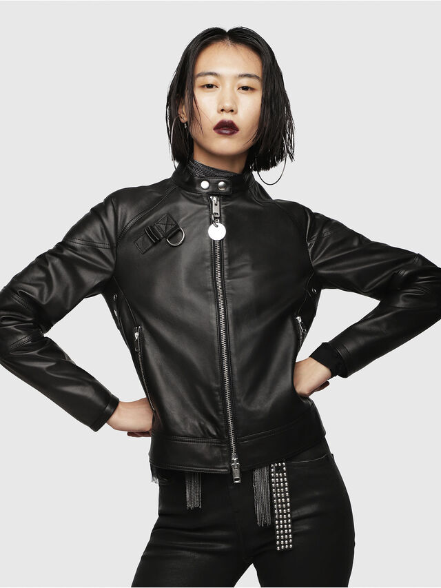 Diesel - L-SUZ, Black Leather - Leather jackets - Image 1
