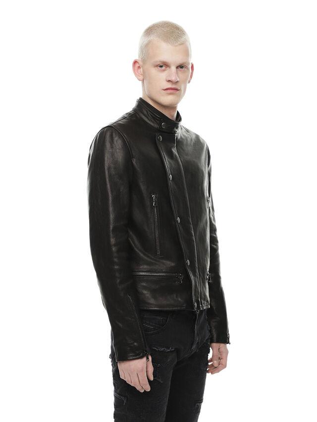 Diesel - LAZING, Black - Leather jackets - Image 3