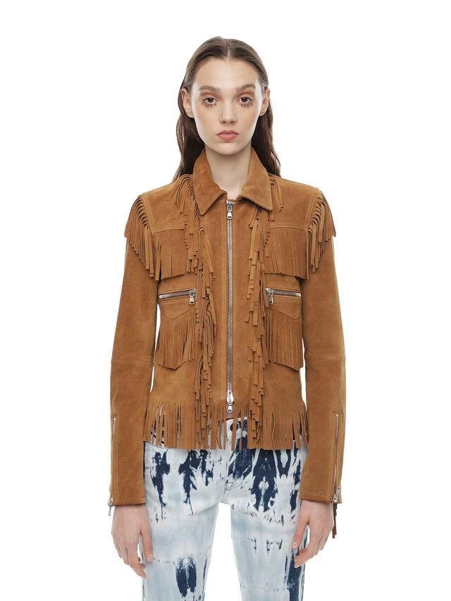 Diesel - LAUL, Brown/Beige - Leather jackets - Image 1