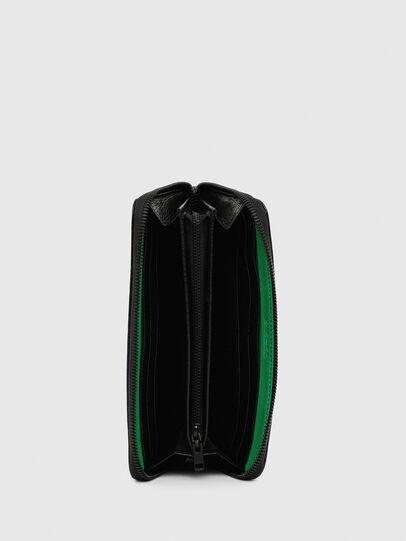 Diesel - 24 ZIPOCKET, Black/Green - Zip-Round Wallets - Image 3