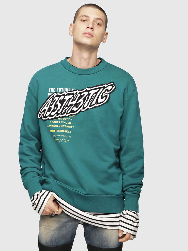 Diesel - S-BAY-YC, Dark Green - Sweaters - Image 1