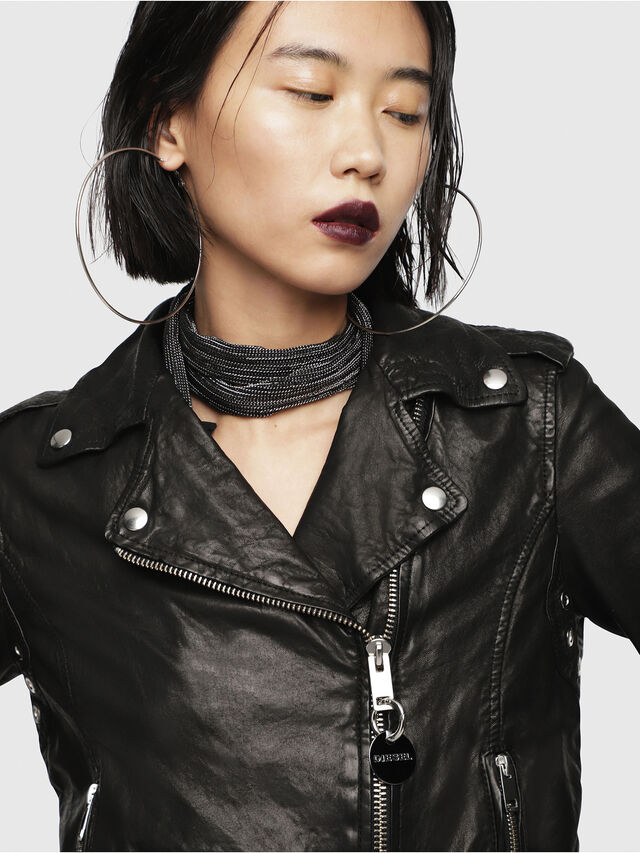 Diesel - L-SERY, Black Leather - Leather jackets - Image 4