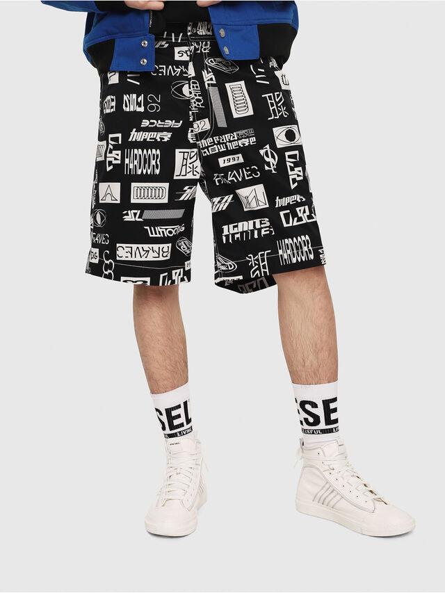 Diesel - P-FRANK-DNM-SHORT-P, Black/White - Shorts - Image 1