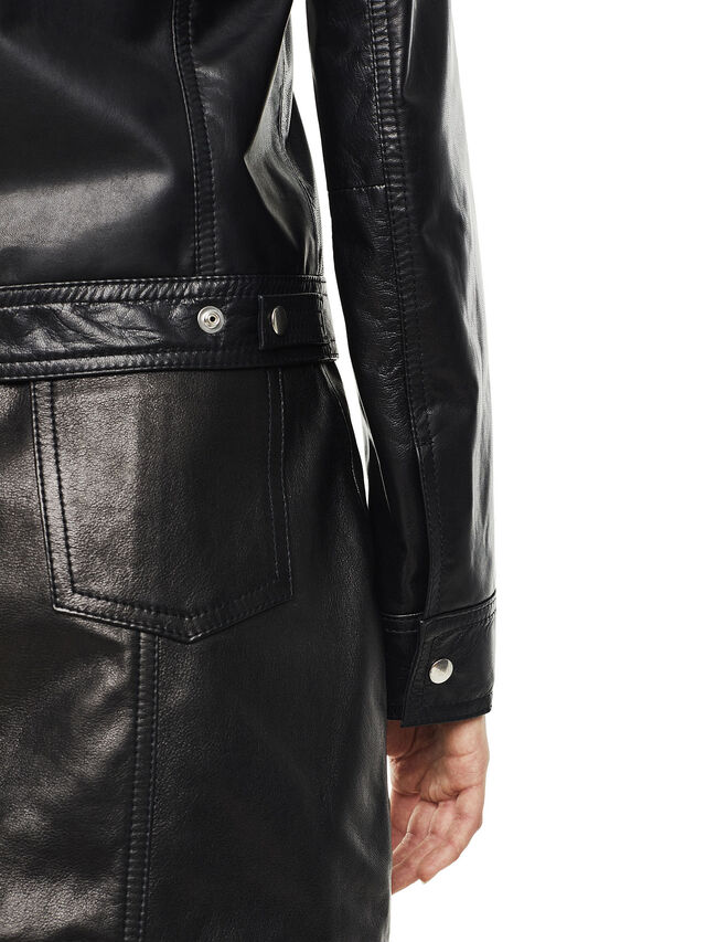 Diesel - LUCYLLE, Black Leather - Leather jackets - Image 3
