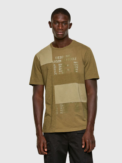 Diesel - T-ATCHWORK, Military Green - T-Shirts - Image 1