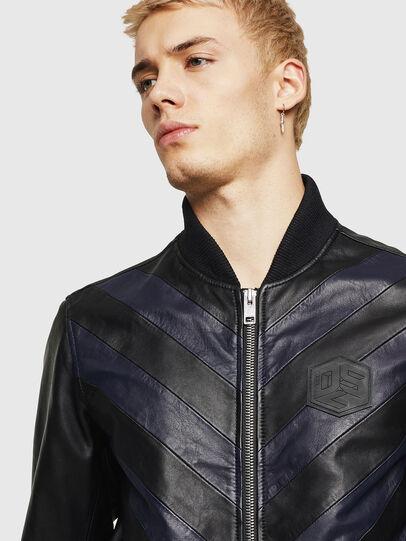 Diesel - L-OLEG, Black/Blue - Leather jackets - Image 3