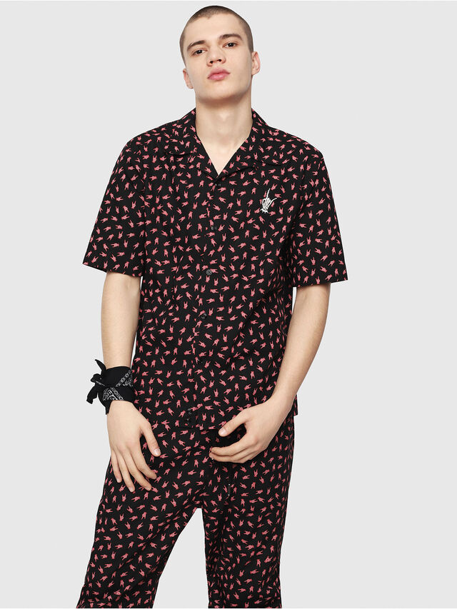 Diesel - S-FRIDAY-HAND, Black/Red - Shirts - Image 1