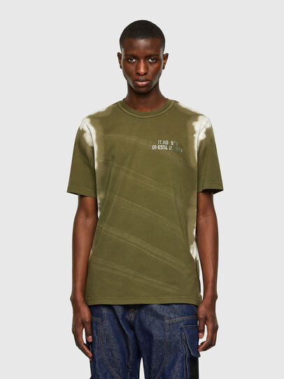 Diesel - T-JUBIND-SLITS-A3, Military Green - T-Shirts - Image 1