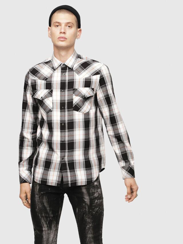 Diesel - S-EAST-LONG-E, White/Black - Shirts - Image 1