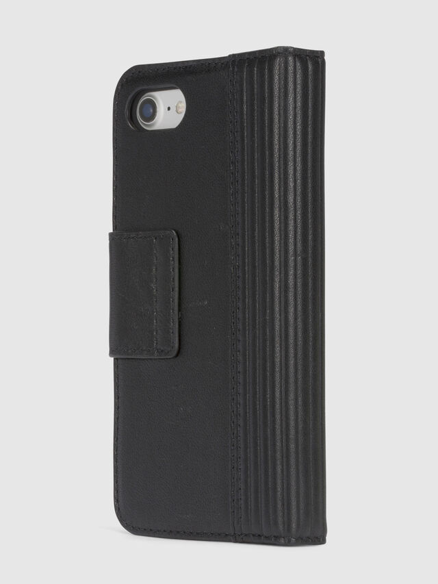 Diesel BLACK LINED LEATHER IPHONE 8/7 FOLIO, Black - Flip covers - Image 5